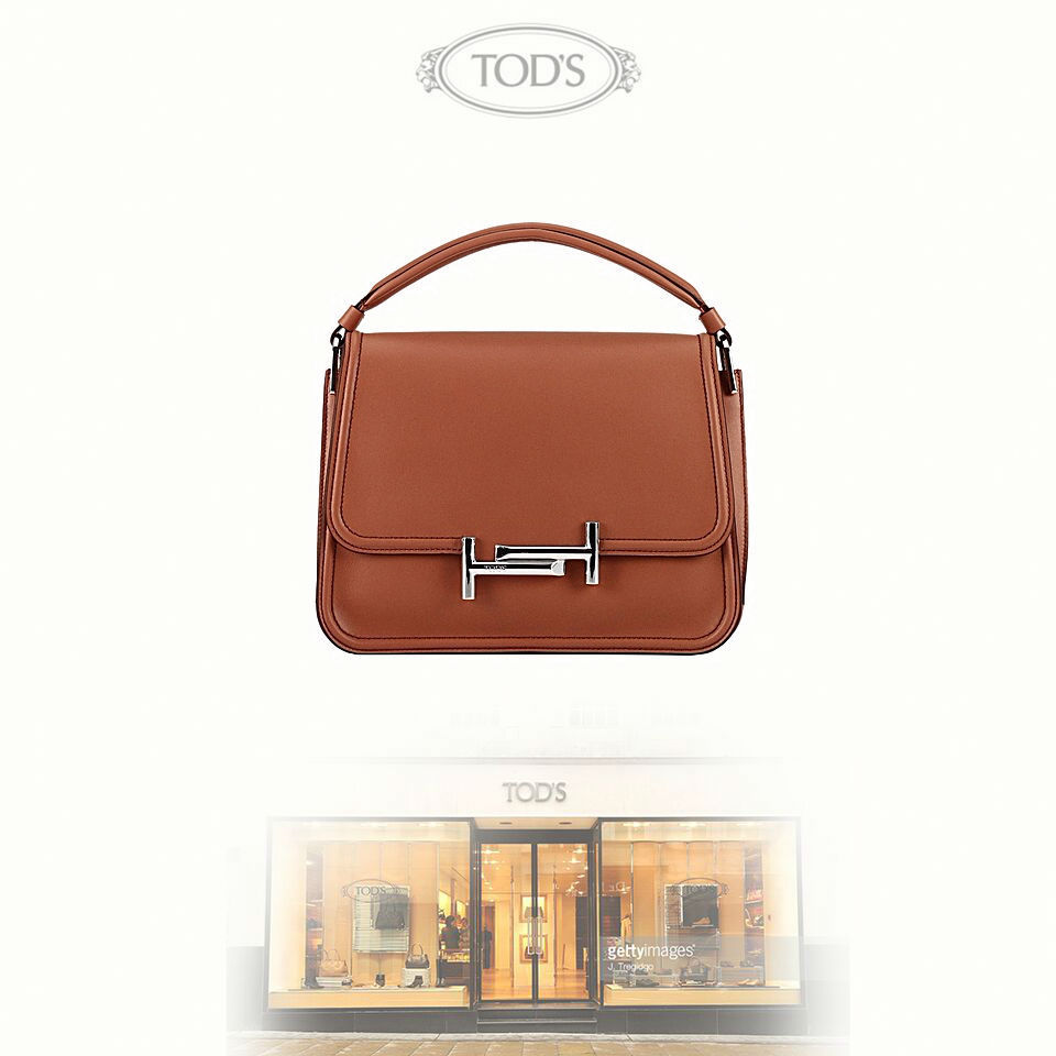 TOD'S トッズ ブラウン レザー 2WAY コンパクト ハンド バッグ