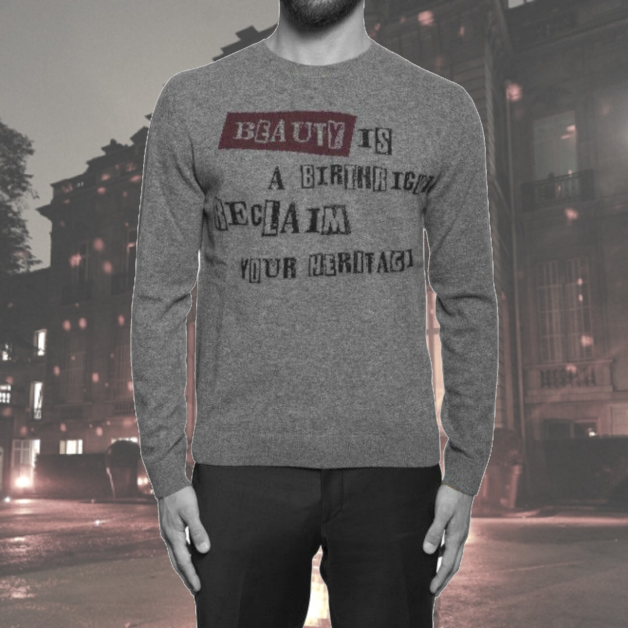 """VALENTINO★MAGLIA pullover with """"Beauty is a Birthright"""""""