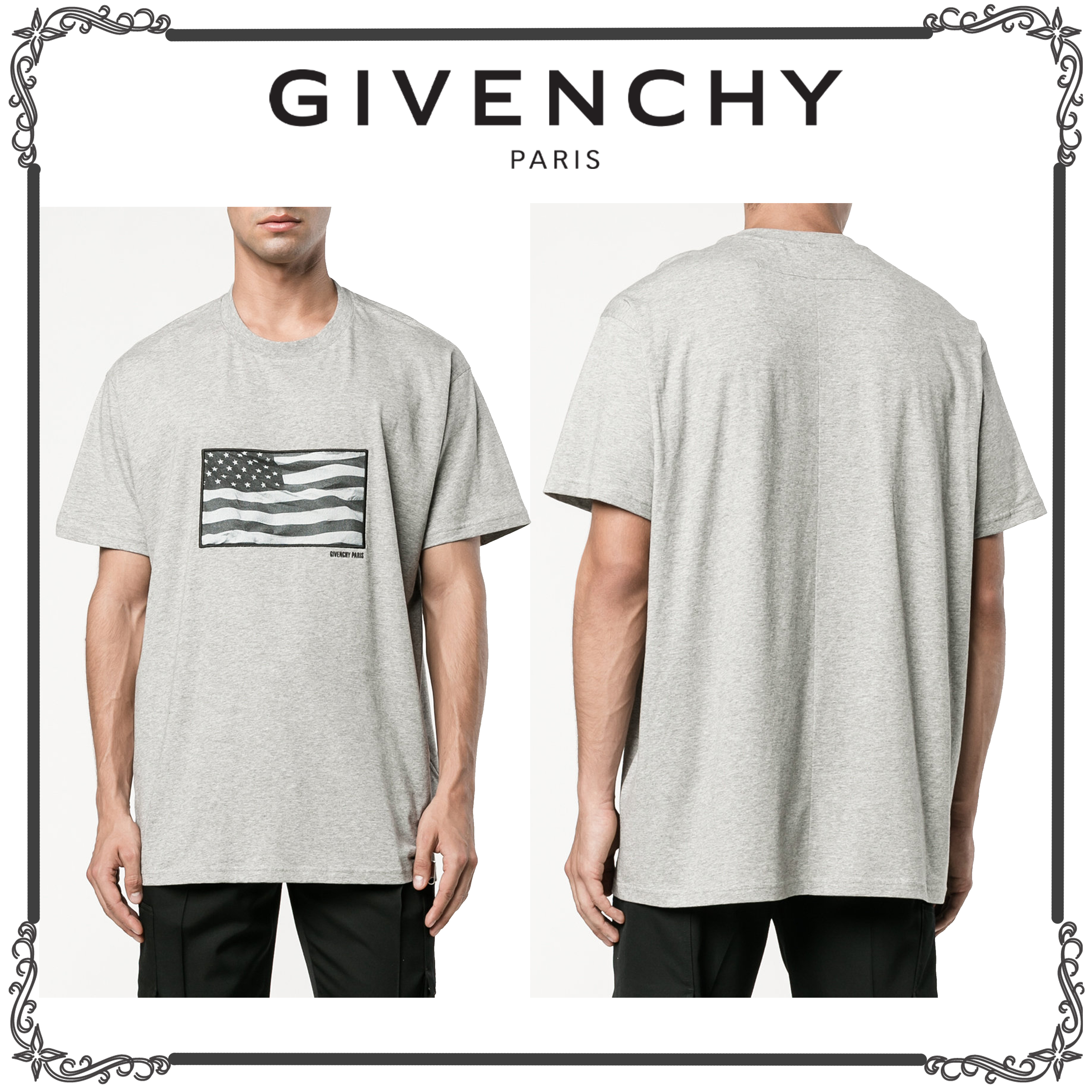 GIVENCHY★フラッグプリント Tシャツ★グレー