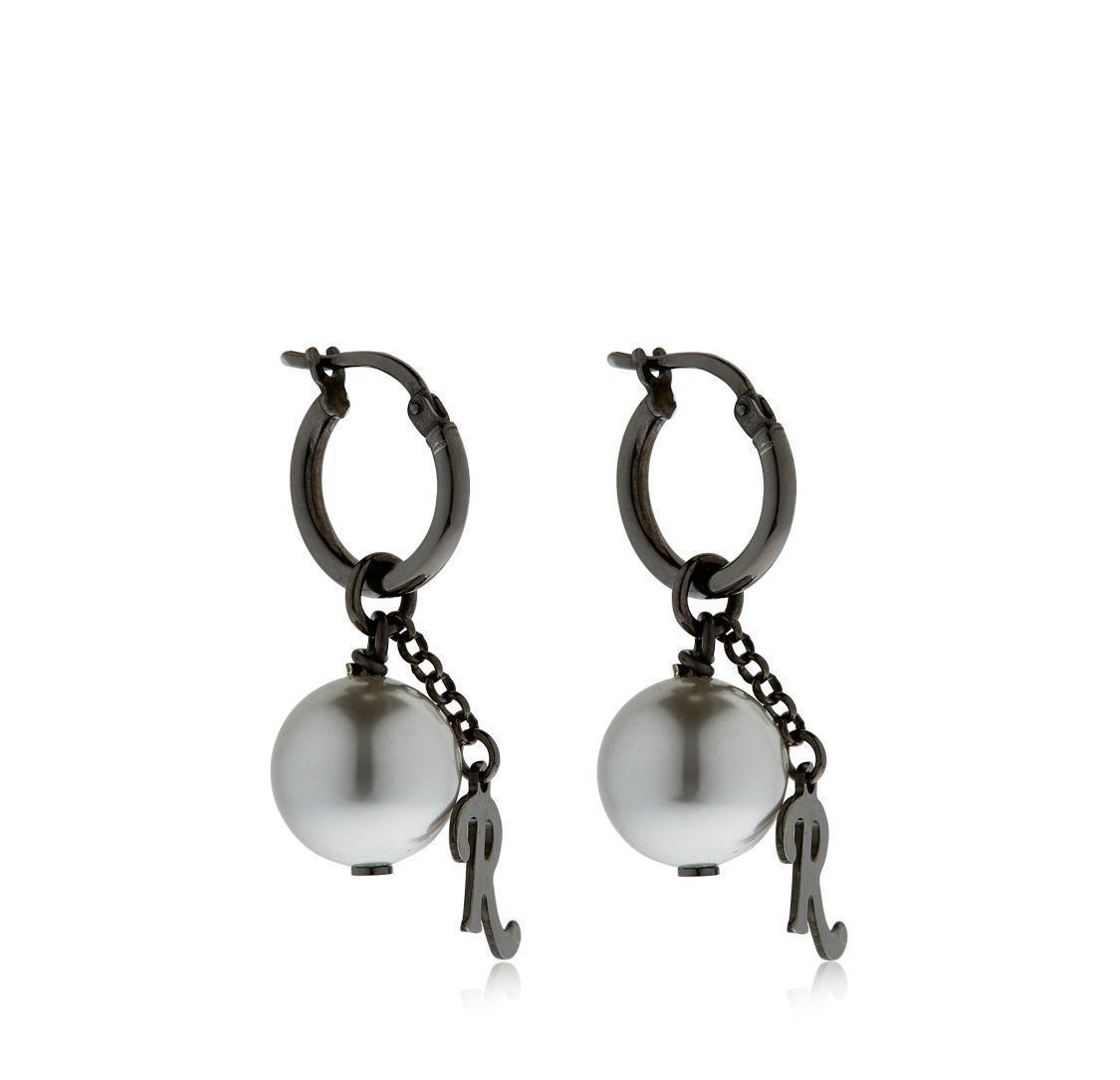 ラフシモンズ SILVER HOOP EARRINGS W/ R & BALLS