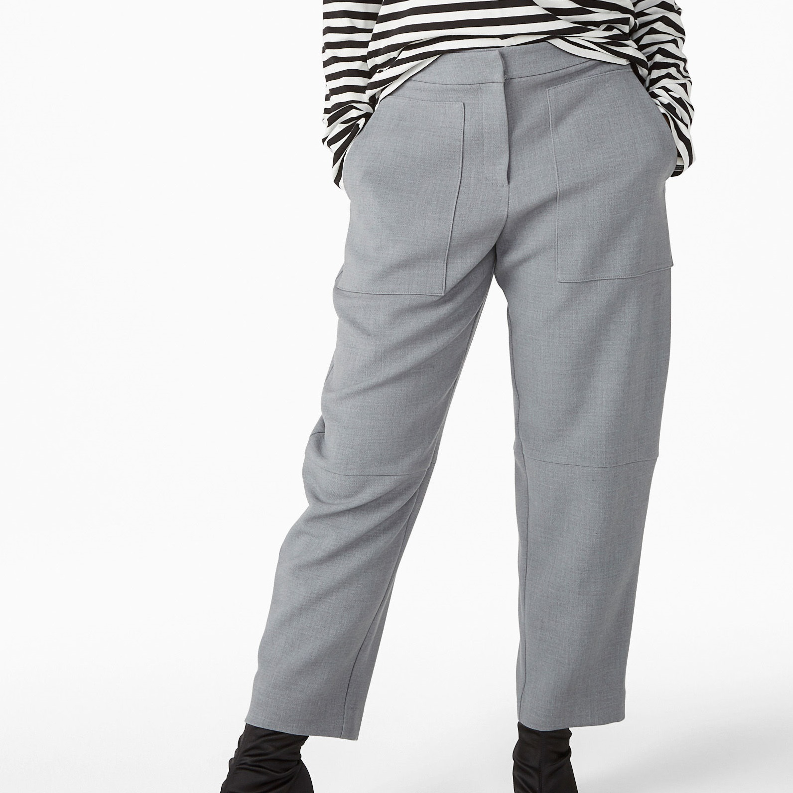 """MONKI""Cropped trousers tapered Gray"