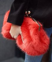"""& Other Stories""Faux Fur Clutch Red"