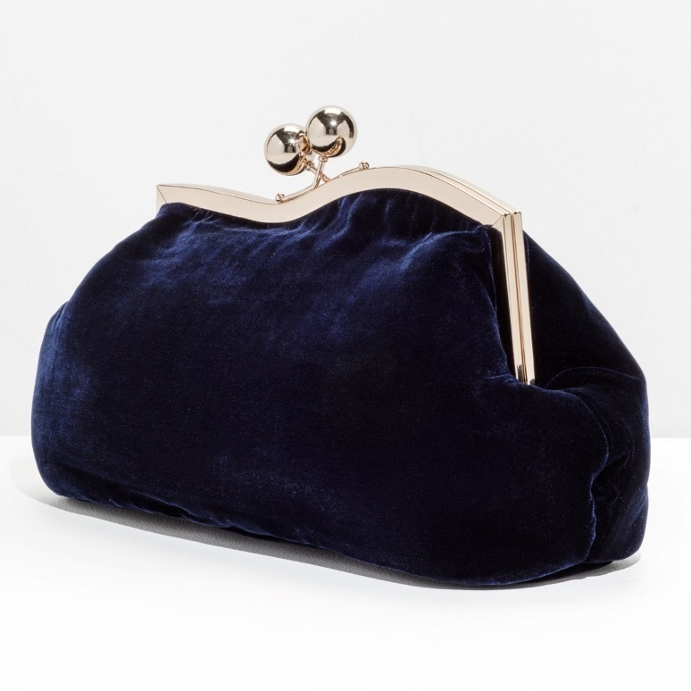 """& Other Stories""Velvet Clutch Navy"