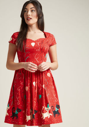 Animal Lover bold me over a-line midi dress in party cats