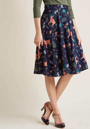 Animal Lover marvelous midi skirt with pockets in forest