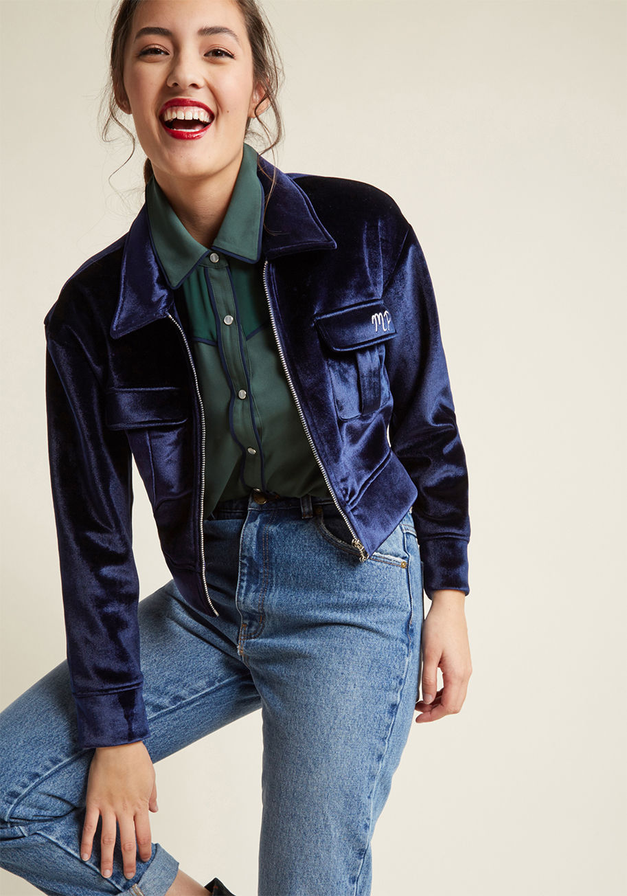 Animal Lover miss patina feline pride cropped velvet bomber