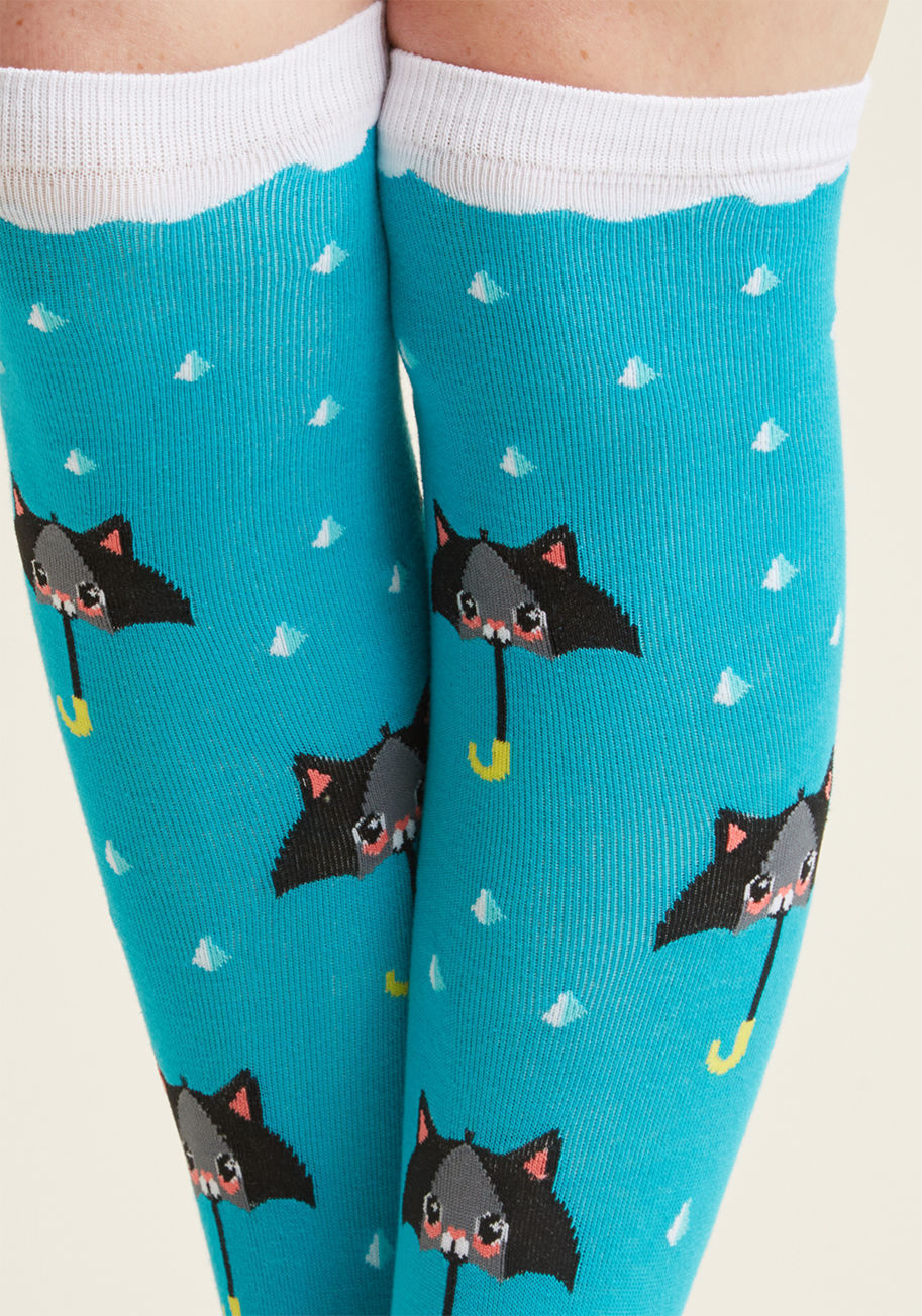 Animal Lover rain in the fore-cats knee socks