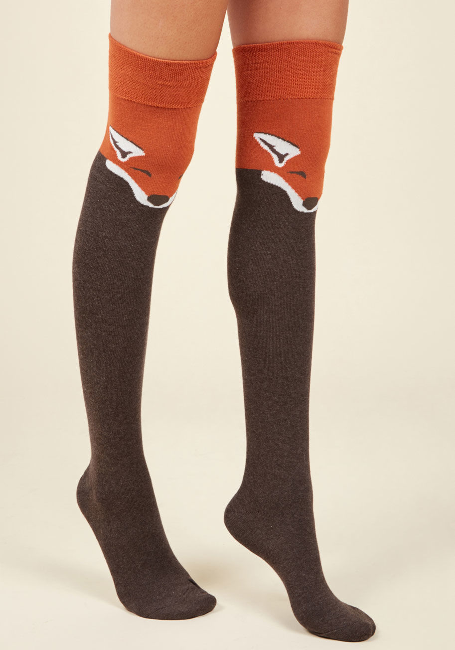 Animal Lover fur the win thigh highs in brown fox