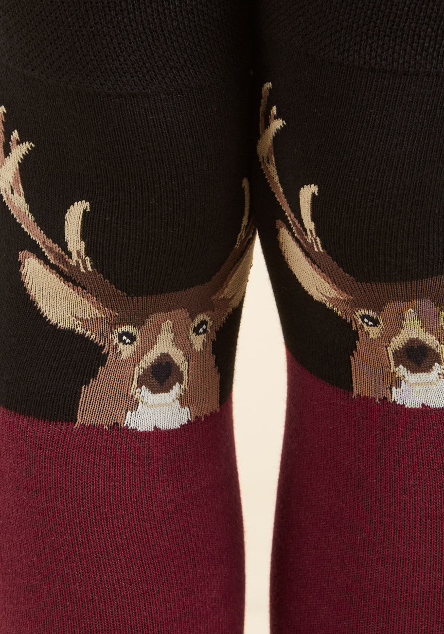 Animal Lover take a stag at it thigh-highs