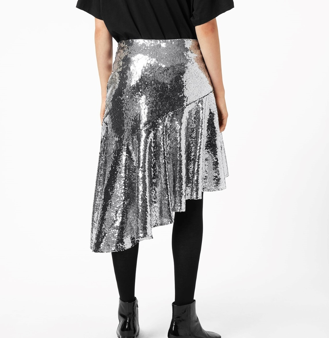 """WEEKDAY""Mette Sequin Skirt Silver"