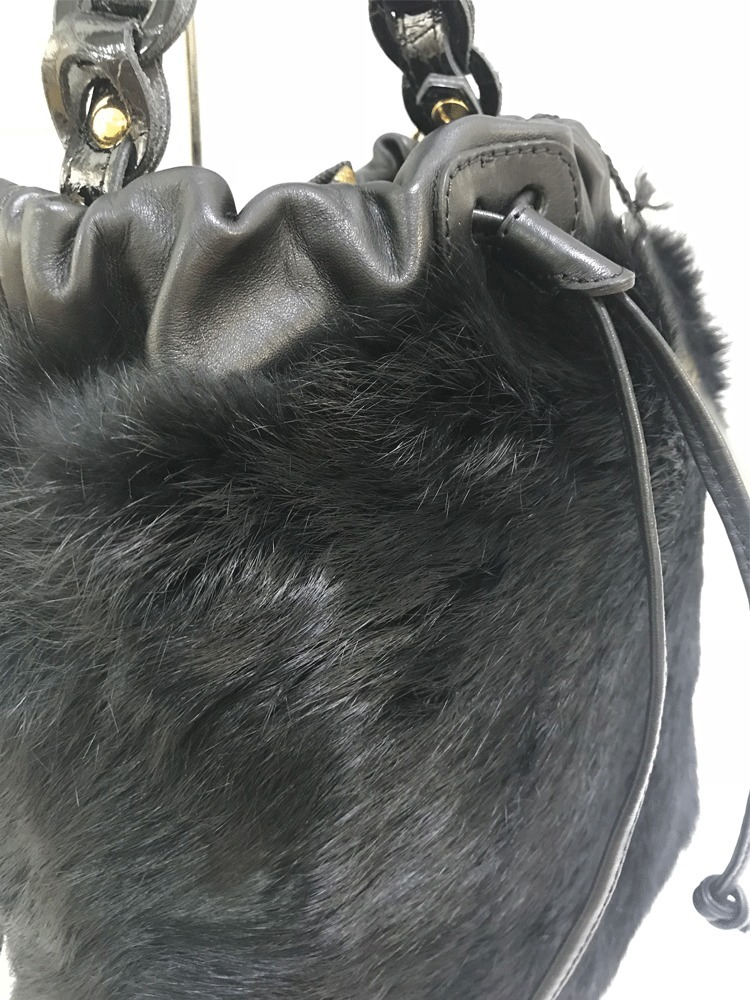 ALEANT =アレアント=ラビットファー=150=black=made in Italy