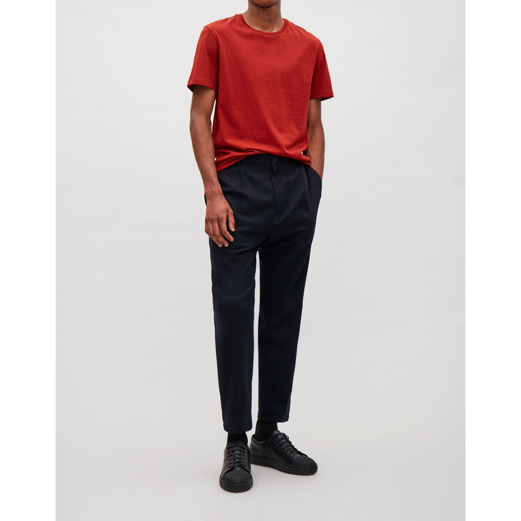 COS☆RELAXED CREPE WOOL TROUSERS / dark blue