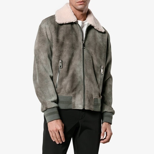 NEIL BARRETT★Suede And Shearling Bomber Jacket Graphitegrey