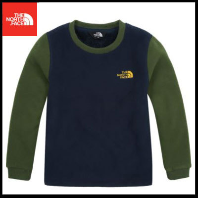(ザノースフェイス)K'S DOUBLE FLEECE L/S R/TEE NAVY NT7TI62U