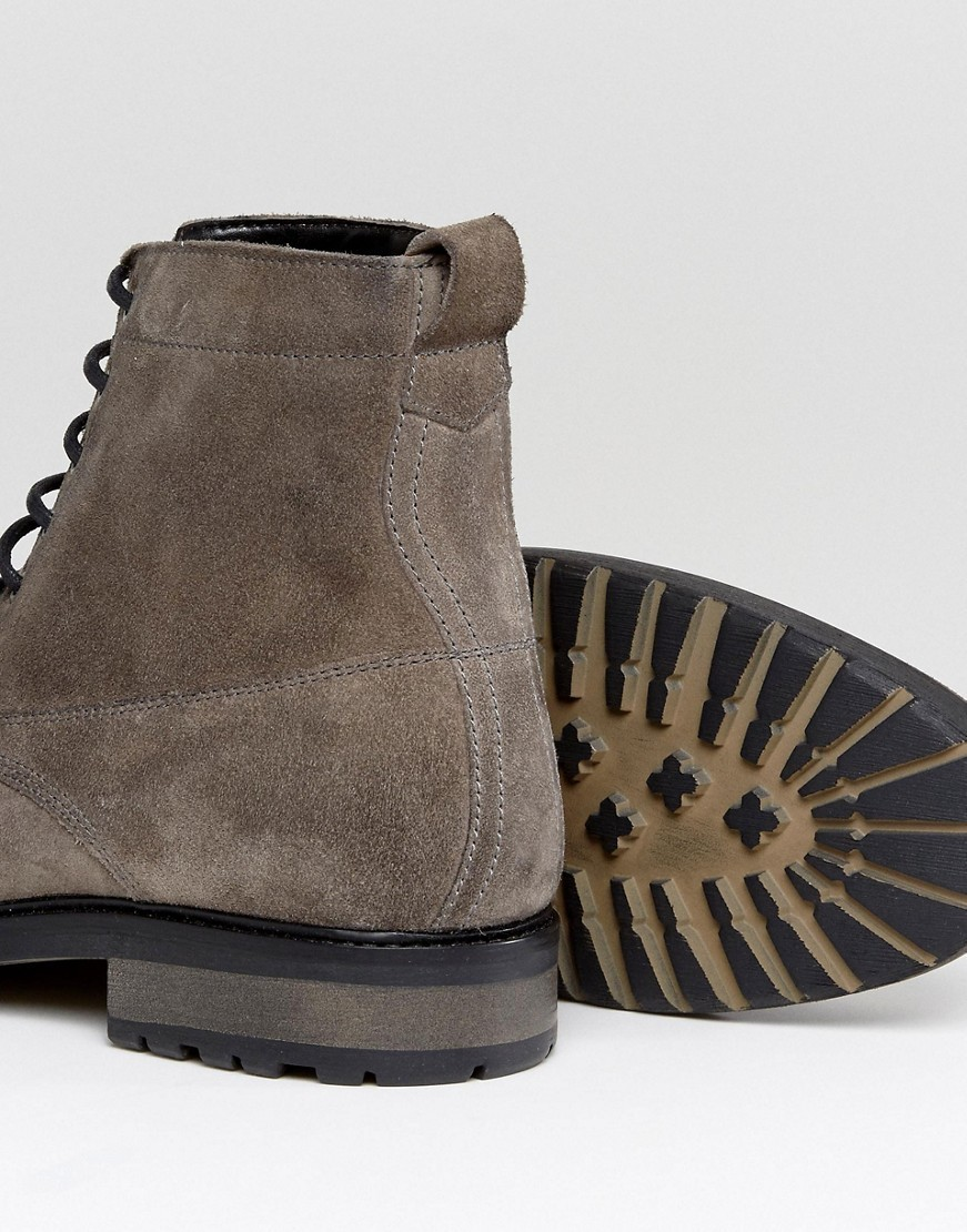 ASOS Lace Up Boots In Grey Suede