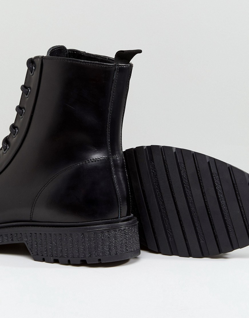 ASOS Lace Up High Boots In Black Leather With Heavy Gum