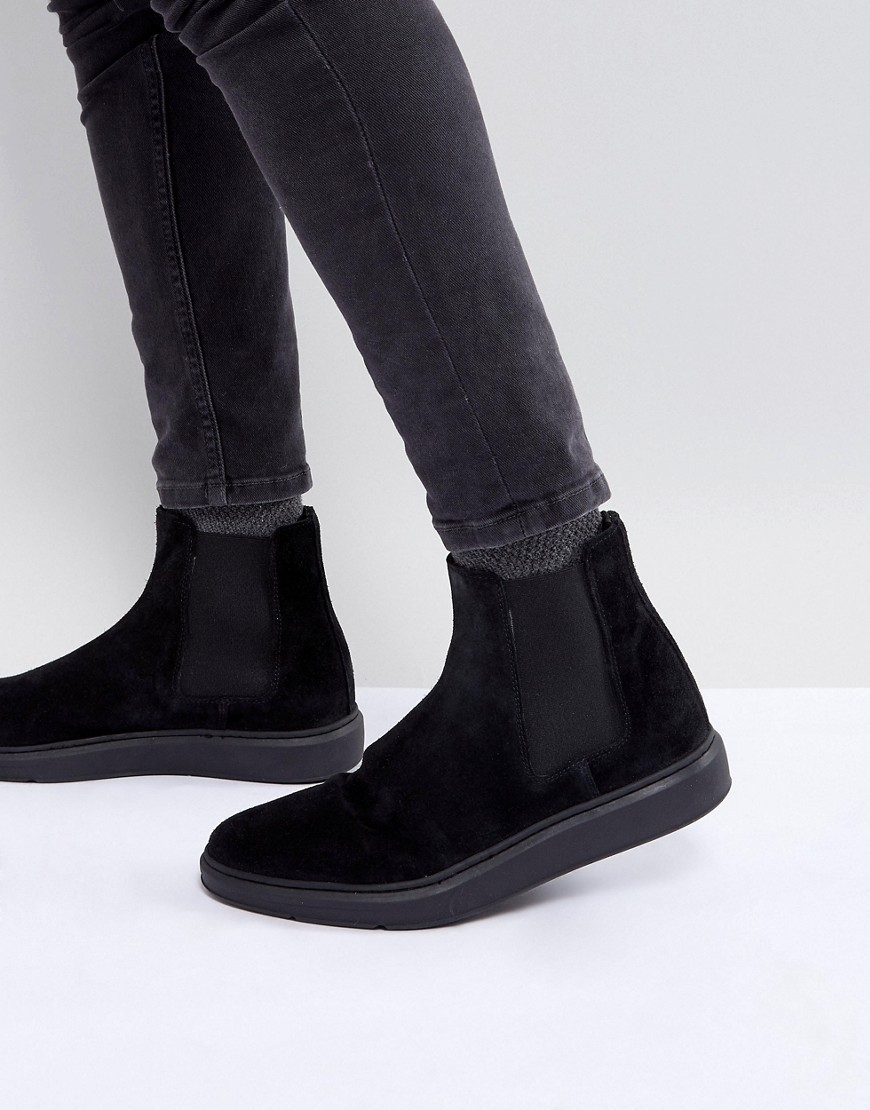 ASOS Chelsea Boots In Black Suede With Faded Hybrid Sole