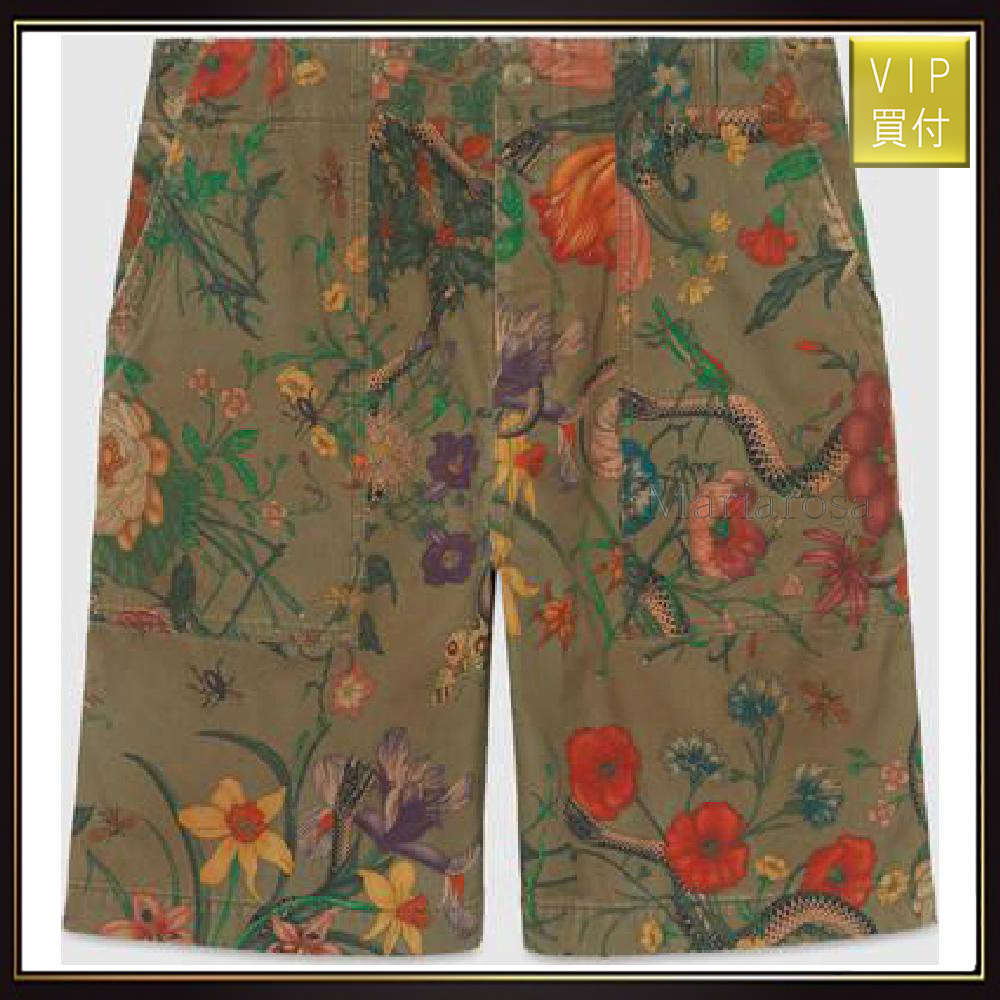 【グッチ】Flora Snake Print Cotton Shorts パンツ
