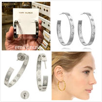 Tory Burch★Dipped Pierced-T Hoop Earrings ピアス*SILVER