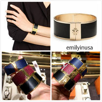 Tory Burch★Skinny Leather Inlay Cuff Bracelet*カッコいい