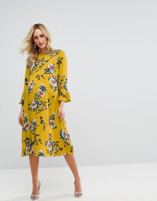 ☆ASOS Maternity Printed Midi Column Dress with Fluted Sle☆