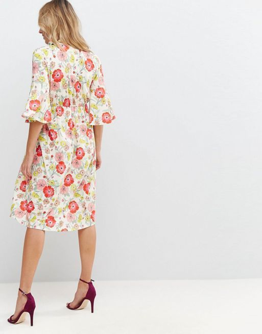 ☆ASOS MATERNITY Skater Dress with Tie Neck in Red Floral ☆