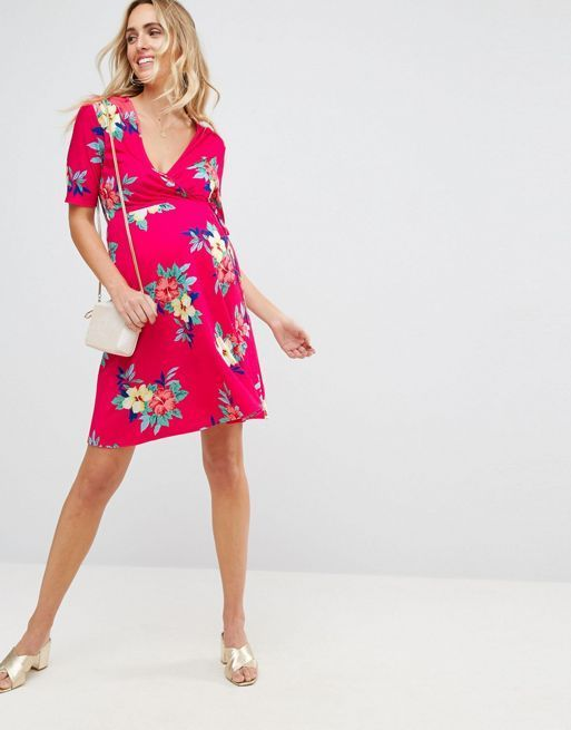 ☆ASOS Maternity NURSING Wrap Skater in Pink Base Floral☆