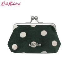 ◆Cath Kidston◆ VELVET CLASP PURSE BUTTON SPOT DEEP GREEN