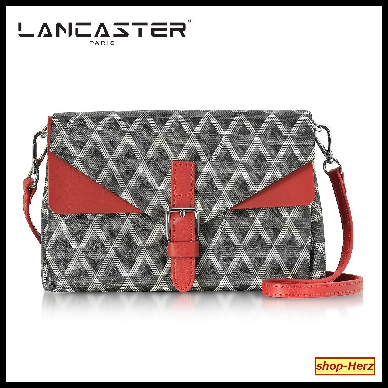 ★LANCASTER★ Ikon Black & Red Coated クラッチバッグ 関税込