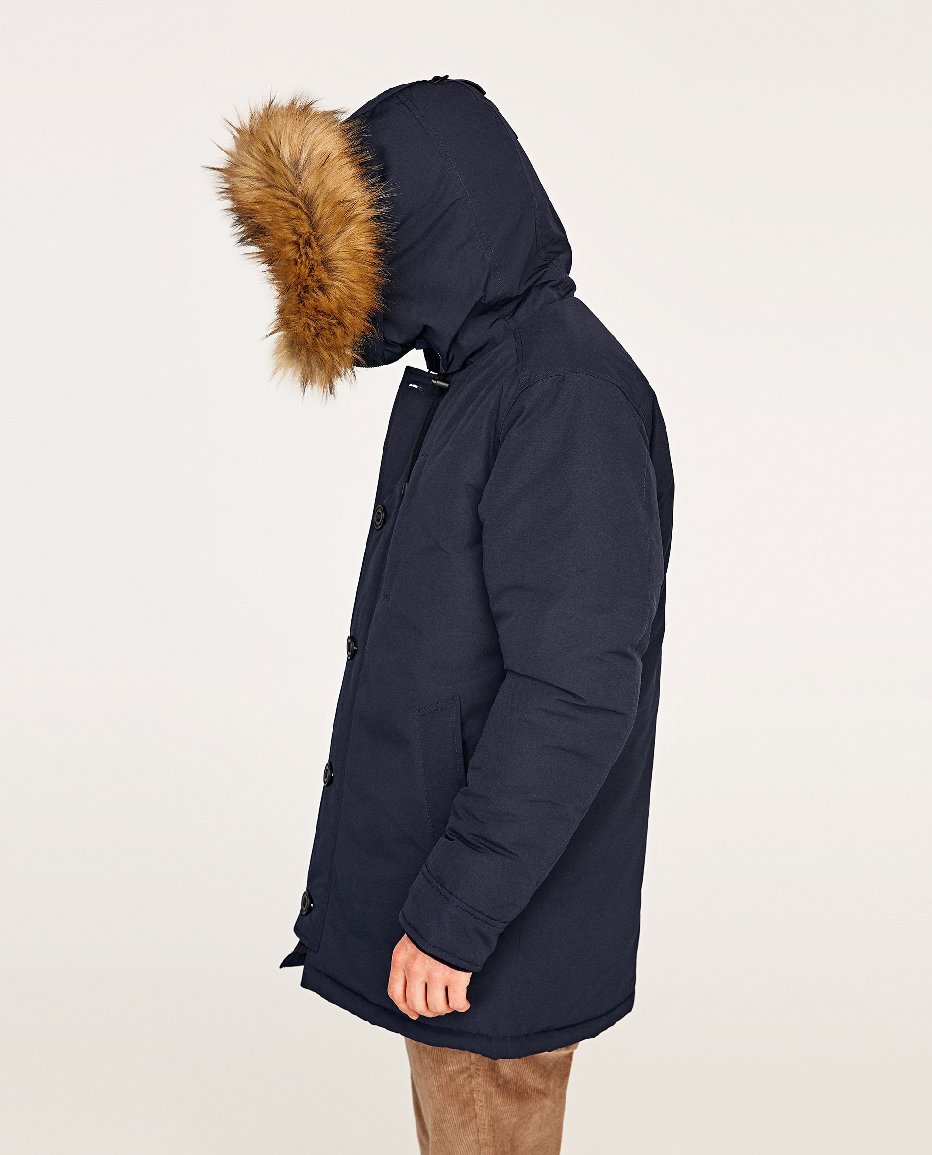 ●ZARA●冬新作♪PARKA WITH FAUX FUR HOOD