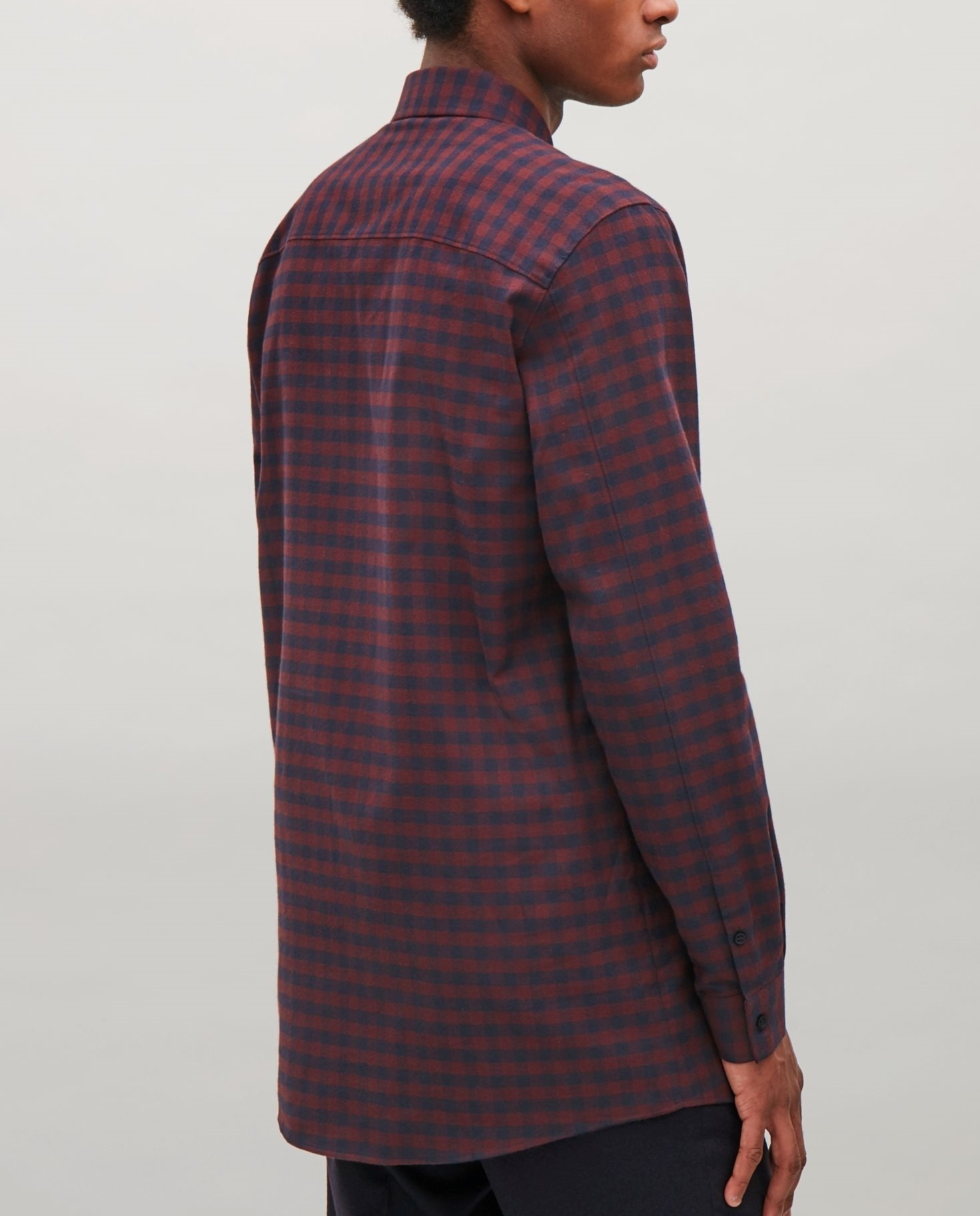 """COS MEN""CHECK COTTON FLANNEL SHIRT DARKRED"