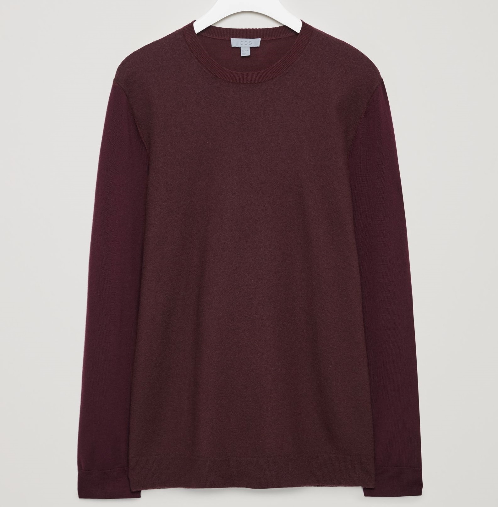 """COS MEN""MERINO JUMPER WITH CONTRAST FRONT BURGUNDY"