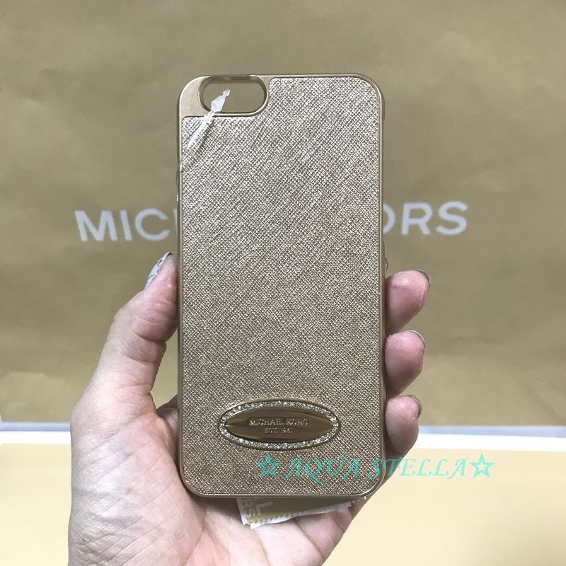 ★Michael Kors★ラインストーン付きレザーiPhone6 6s case GOLD
