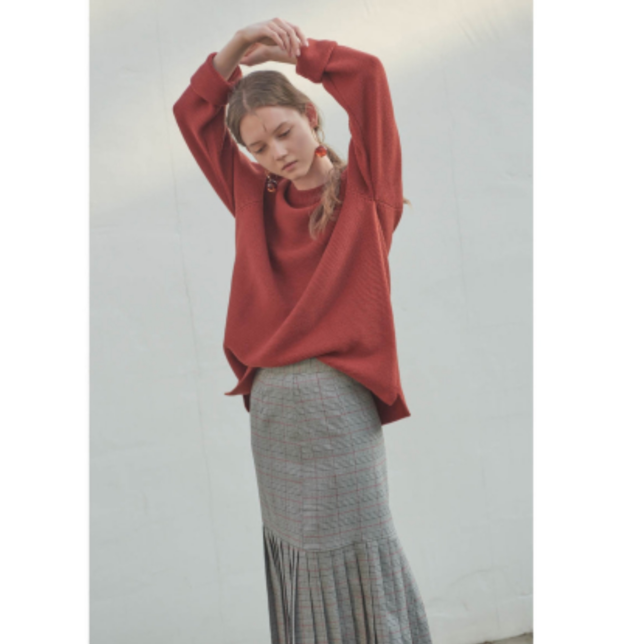 新作★Evan Laforet★  [UNISEX] ROUND NECK RAGLAN KNIT_red