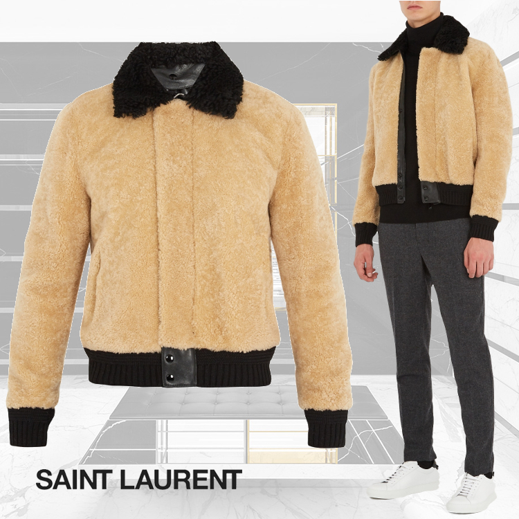 【関税送料込】17FW★SAINT LAURENT★Contrast-trim jacket