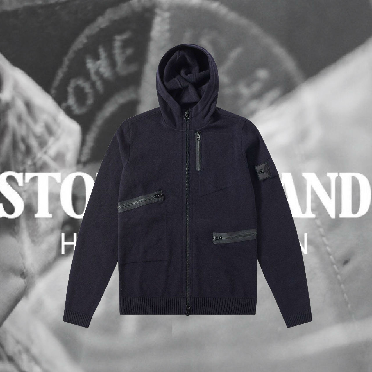 STONE ISLAND★WOOL STRETCH NYLON KNITTED HOODY NAVY