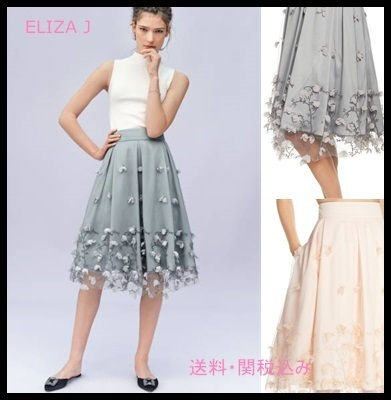 Eliza j Floral Applique Ball Skirt 膝丈 花柄 フラワー
