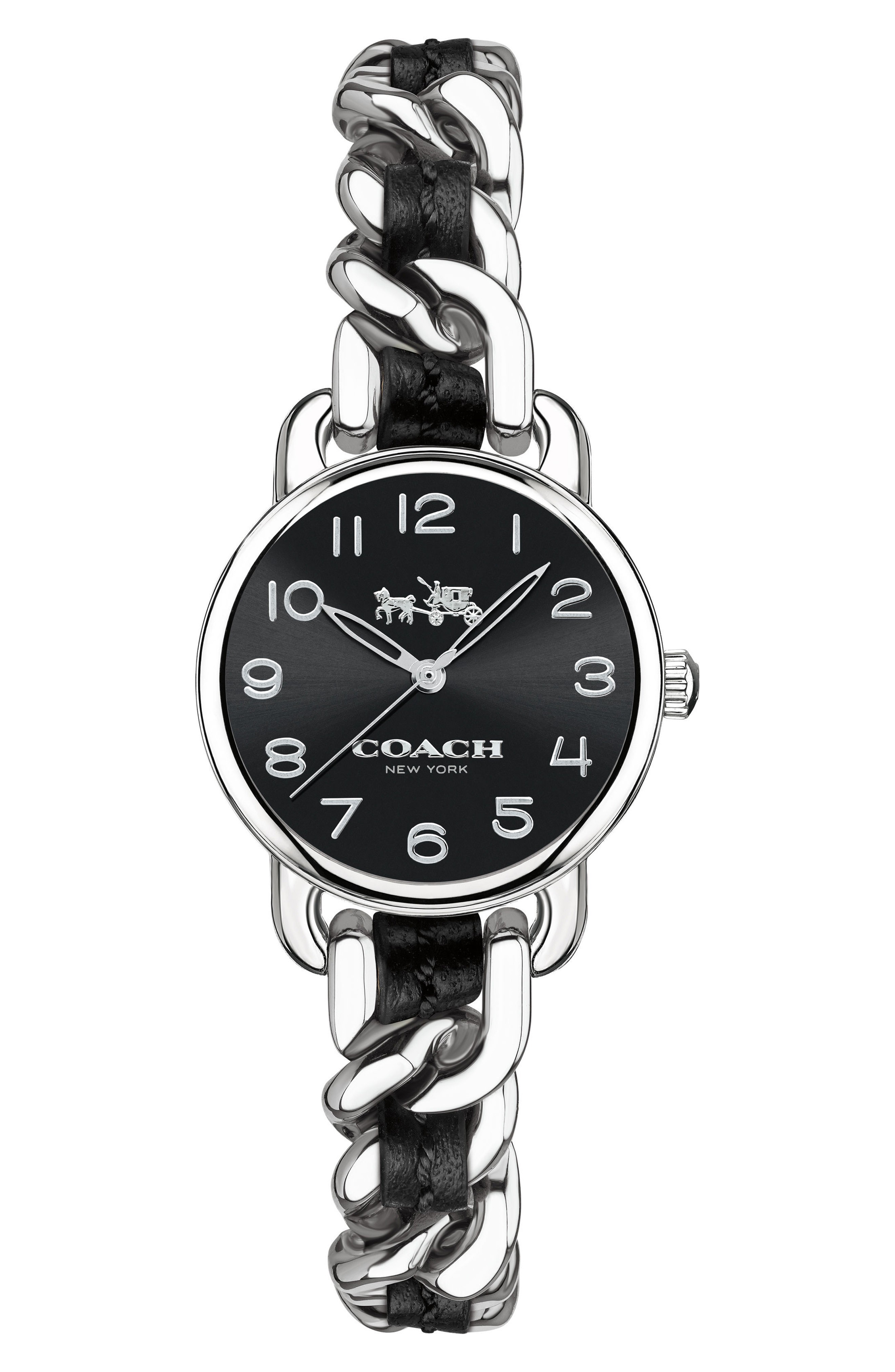 ★関税送料込★COACH Delancey Leather Chain Watch, 23m 腕時計