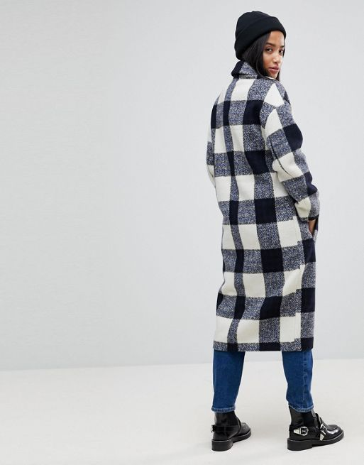 送料込 ASOS PETITE Check Slim Coat with Pocket Detail コート