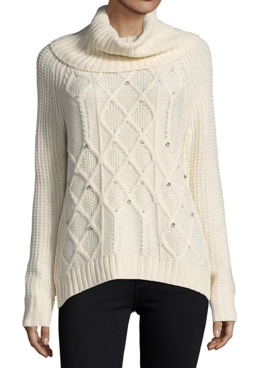 イヴァンカ Ivanka Trump Embellished Cowlneck Sweater