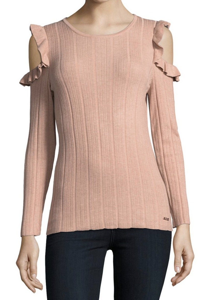 イヴァンカ Ivanka Trump Ruffle Cold Shoulder Sweater