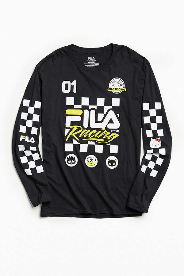 FILA X Sanrio For UO White + Yellow Racing Long Sleeve Tee