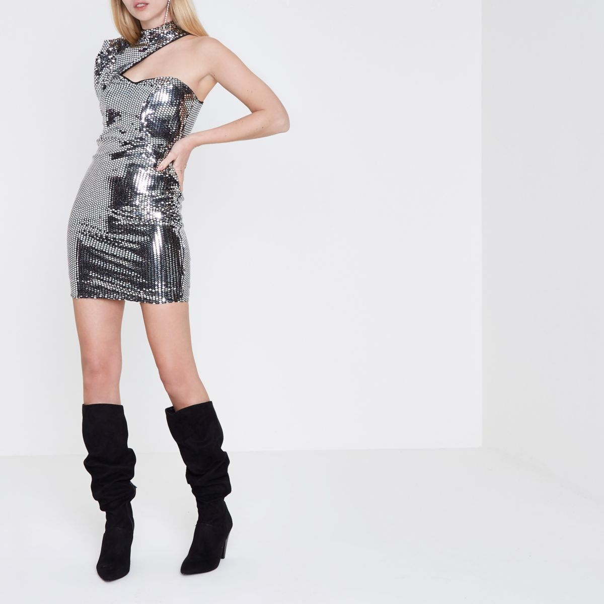 【海外限定】River Island ドレス☆Silver mirror sequin one sl