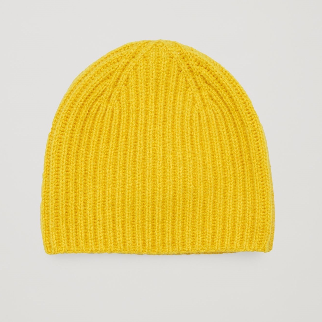 """""""COS KIDS""""RIBBED CASHMERE BEANIE HAT YELLOW"""