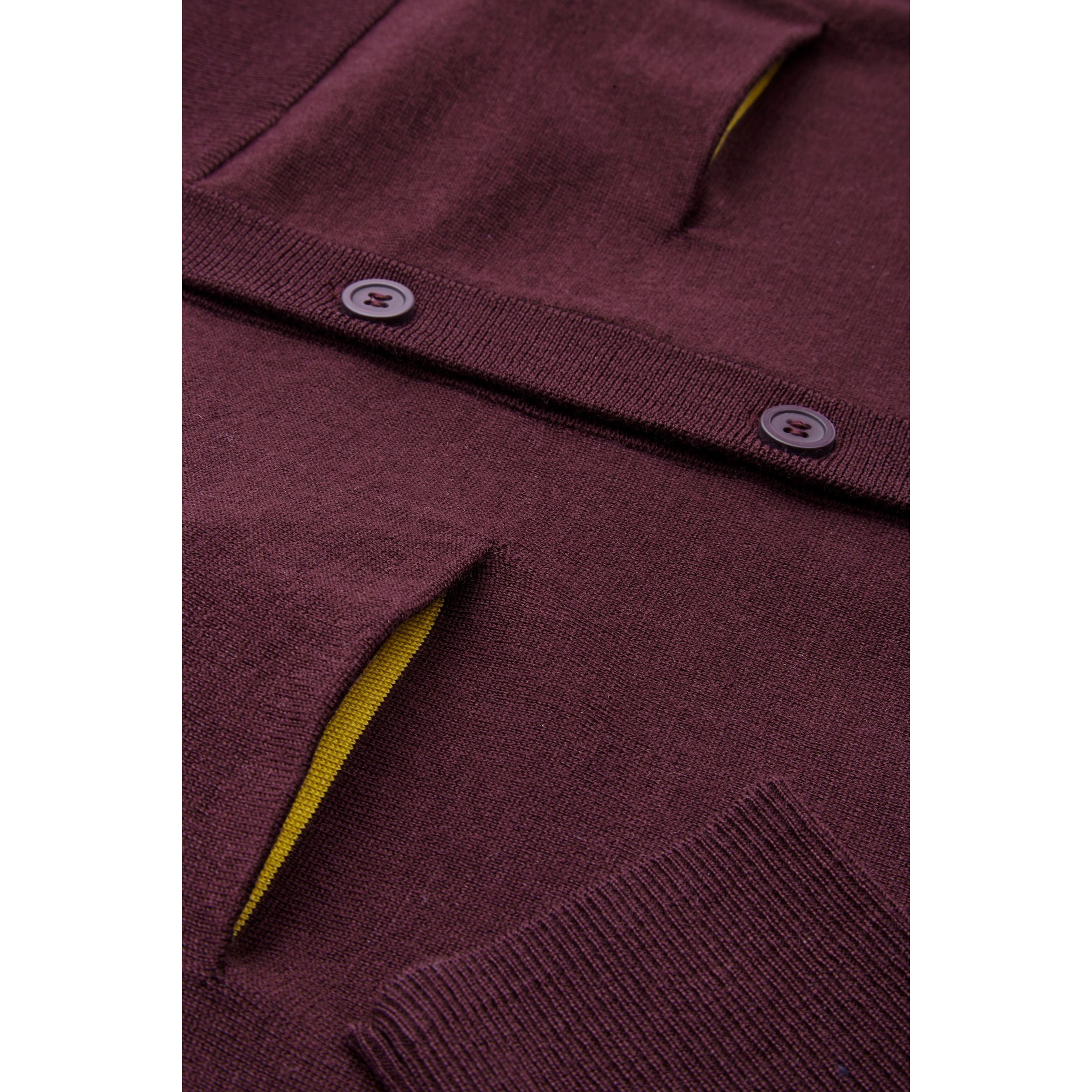 COS☆CARDIGAN WITH CONTRAST POCKETS / burgundy