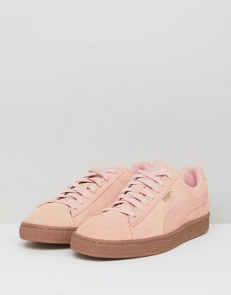 送料込み! Puma Suede Gum Sole Trainers In Pink