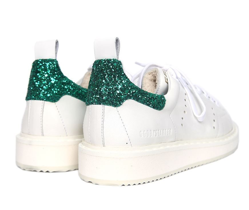 【関税負担】GOLDEN GOOSE STARTER WHITE/GREEN GLITTER