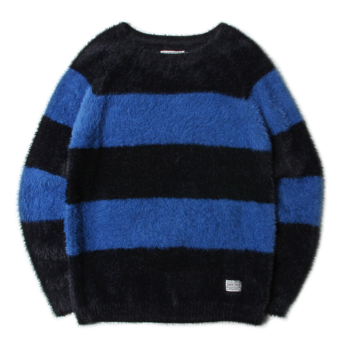 ★SAINTPAIN★日本未入荷/SP WOODY ANGORA STRIPE KNIT(BL)
