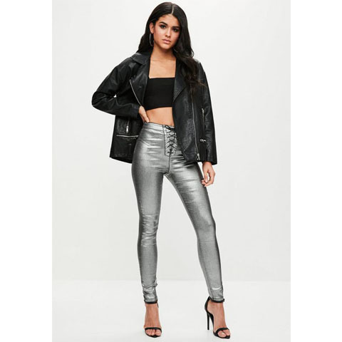 Missguided シルバーメタリックレースアップスキニージーンズ