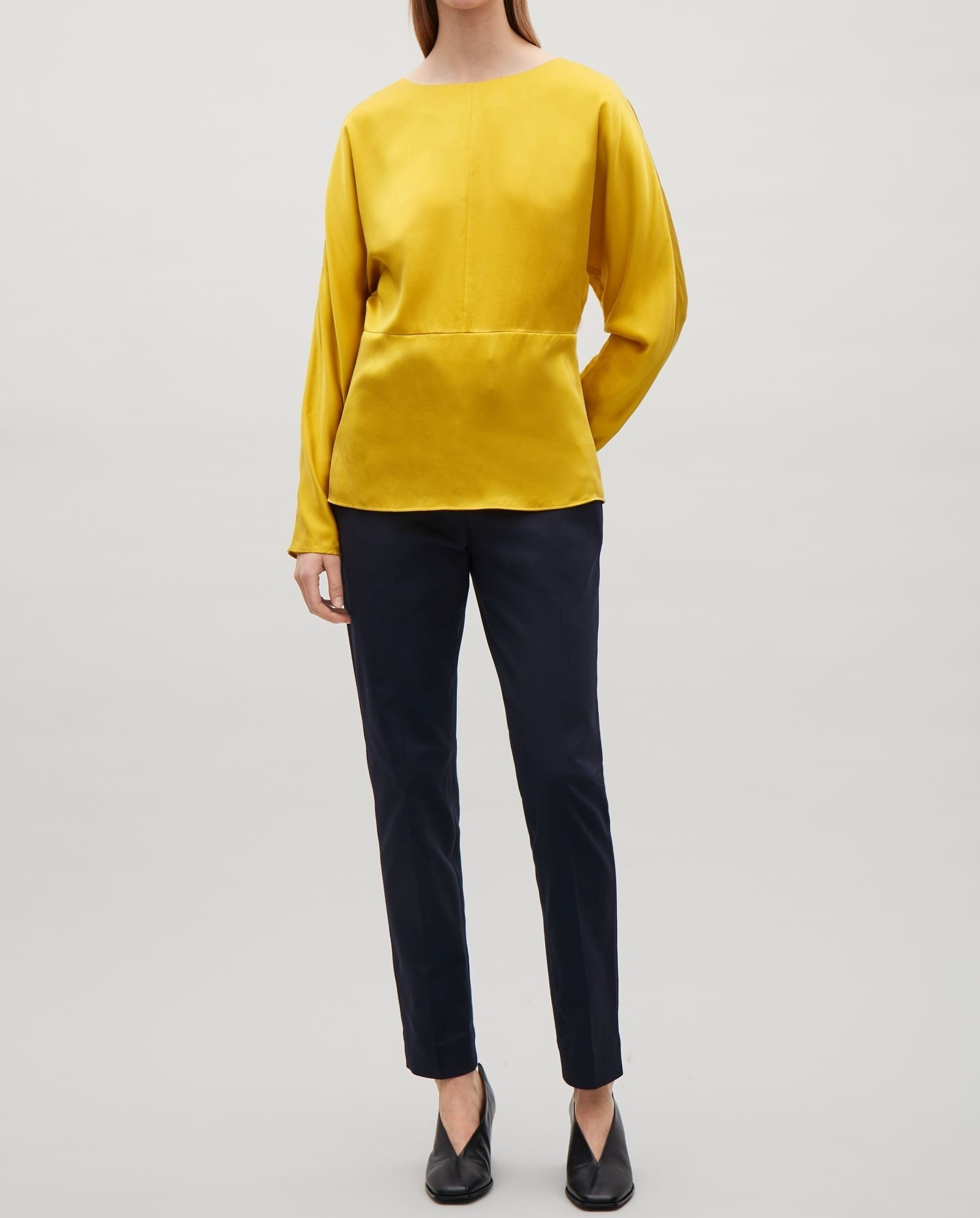 """""""COS""""BATWING-SLEEVED SILK TOP YELLOW"""